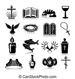 Christianity traditional religious symbols black icons set isolated vector illustration