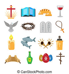Christianity icons set - Christian church traditional ...