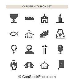 Christianity icons set on white background