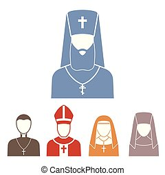 Christianity religion people vector pastor religionism flat...