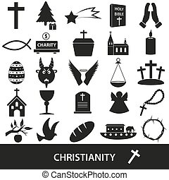christianity religion symbols vector set of icons eps10
