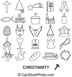christianity religion symbols vector set of outline icons eps10