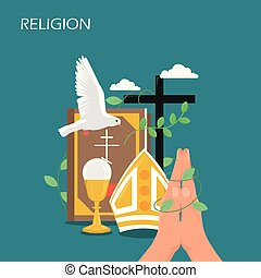 Christianity religion vector flat style design illustration