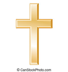 Christianity Symbol - Golden Cross, Crucifix, symbol of...
