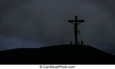Christians praying at Jesus cross, night storm with lightnings, 4K