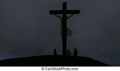 Christians praying at Jesus cross, night storm with lightnings, panning