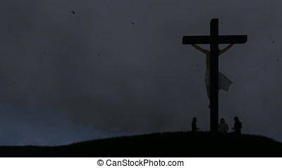 Christians praying at Jesus cross, night storm with lightnings, zoom out