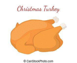 christmas シチメンチョウ, 感謝祭, 食物, 揚げられている, chicken., 漫画, 平ら, style., ベクトル