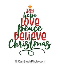 christmas-, 喜び, 平和, 信じなさい, 休日, 愛, 引用, calligraphy.