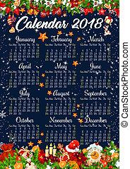 Christmas 2018 calendar vector holiday decorations - 2018...