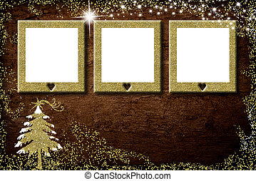 Christmas 3 empty photo frames card
