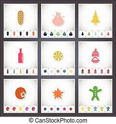 Christmas. A set of flat stickers with shadow on white background