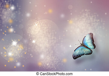 Christmas abstract background with butterfly and lights
