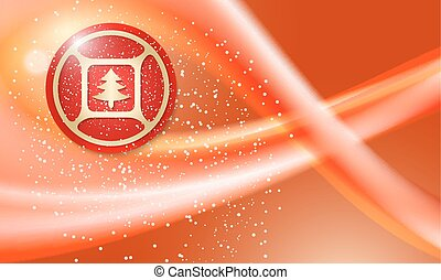 Christmas abstract background with falling snow and xmas tree