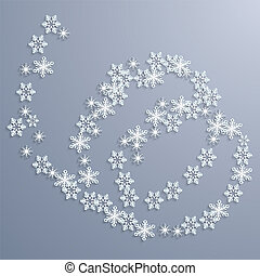 Christmas abstract background with swirling snowflakes.