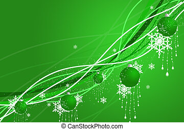 Christmas abstraction with spheres and snowflakes