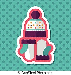 Christmas accessories flat icon with long shadow,eps10