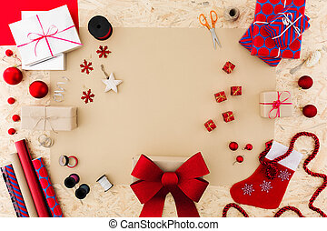 Christmas accessories on table