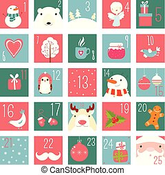Christmas advent calendar with elements in naive hand drawn style