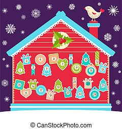 Christmas advent calendar with labels in retro style