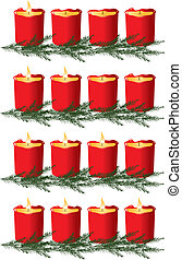 Christmas advent candles isolated