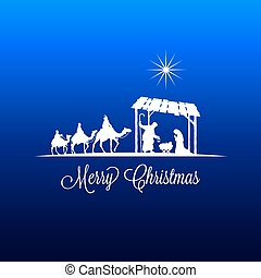 Christmas Advent Greeting Card - High detail Vector nativity...