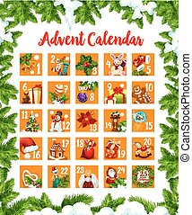 Christmas Advent month calendar of December days till 25 eve. Vector design of Christmas season symbols and decorations, New Year Santa present gift, golden bell and star or wreath on tree