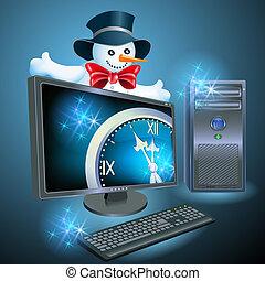 Christmas advertising computer equipment