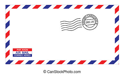 christmas airmail envelope - illustrations of airmail ...