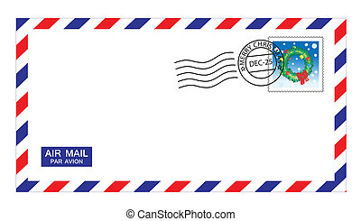 christmas airmail envelope - illustrations of airmail...