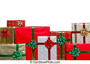 christmas ajándék, alacsonyabb, keret