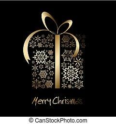 christmas ajándék, doboz, elkészített, alapján, arany-, hópihe