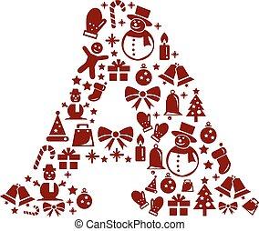 Christmas alphabet A on White Background