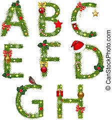 Christmas Alphabet Isolated On White Background, With ...