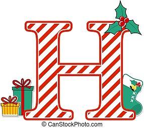 christmas alphabet letter h