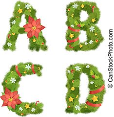 Christmas alphabet, vector illustration, eps10