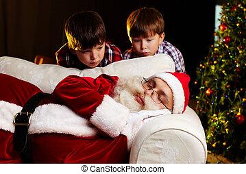 Christmas amazement - Photo of Santa Claus sleeping on sofa...