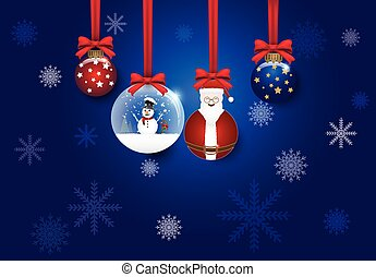 Christmas and ball decoration blue vector background