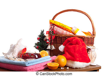 Christmas and beach accessories
