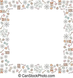 Christmas and Christmas square frame made of doodles. Snowflakes, gifts, bells, candy canes, Christmas balls, Christmas tree branches with balls. Vector.