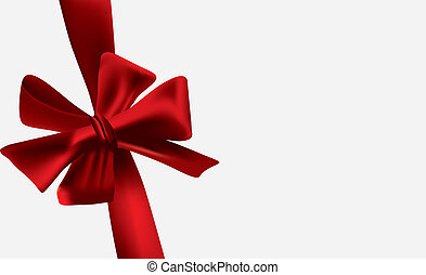 Christmas and gift card - Red bow knotted on a gift card