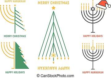 Christmas and Hanukkah cards, vector set