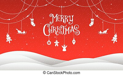 Christmas and Happy New Year 2018, Typography, Xmas red background with winter landscape with snowflakes, vector Illustration.