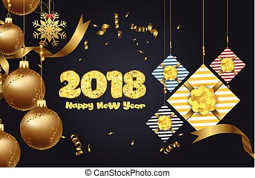 Christmas and happy new year luxury design with festive objects on red background. Calligraphy inscription Merry Christmas