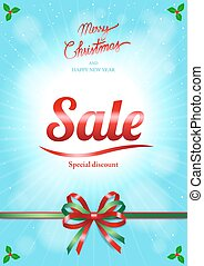 Christmas and happy new year sale poster or banner with tied ribbon in festive theme