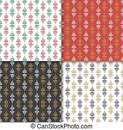 Christmas and happy new year seamless pattern set. Winter holiday pattern for background or gift wrapping paper.