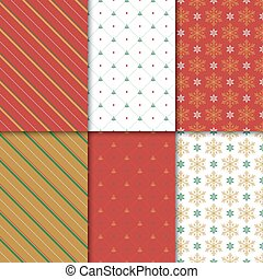 Christmas and happy new year seamless pattern set. Winter holiday pattern with snowflake and ornament for background or gift wrapping paper.
