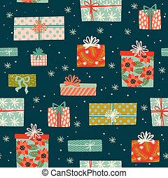 Christmas and Happy New Year seamless pattern with gift boxes.