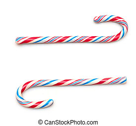 christmas and holiday candy canes isolated on white