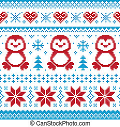 Christmas and knitted pattern - Red and blue Xmas seamless...